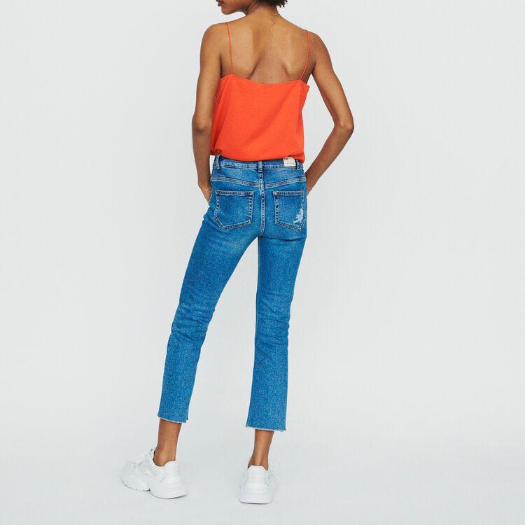 Jean recto con flecos y bordados : Pantalones y Jeans color Denim
