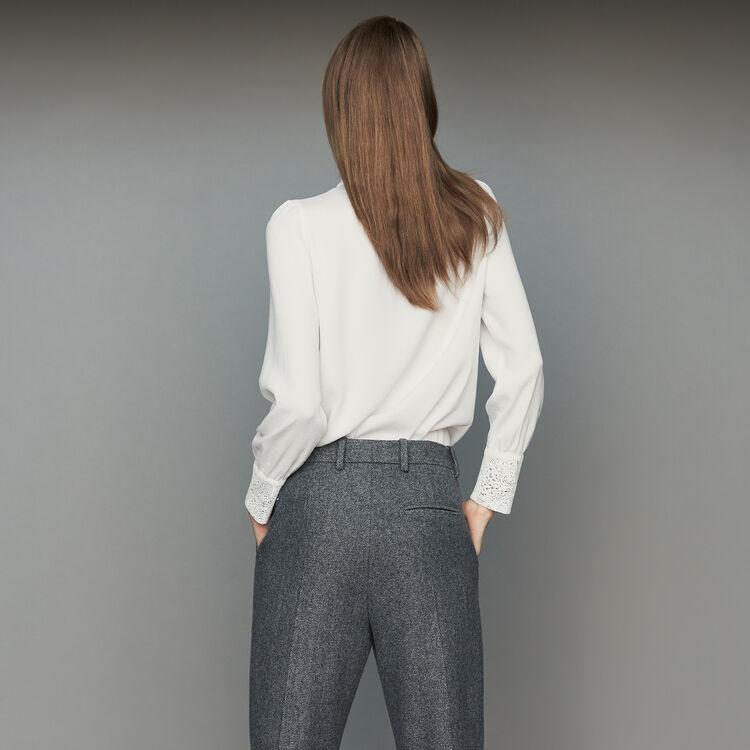 Blusa con corbata y encaje : Camisas color Blanco