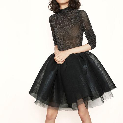 Falda tipo enagua de tul revestido : Faldas y shorts color NEGRO