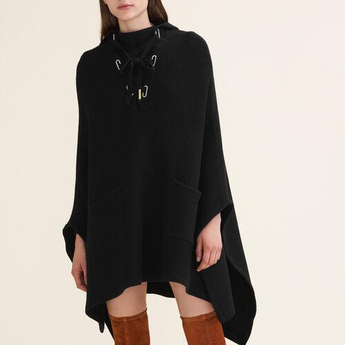 Poncho tipo capa de punto tubular : Jerseys y cárdigans color Negro