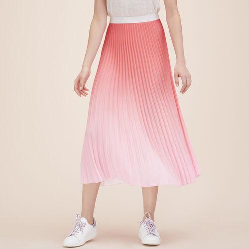 Falda plisada largo medio teñido anudado : Faldas y shorts color Rosa