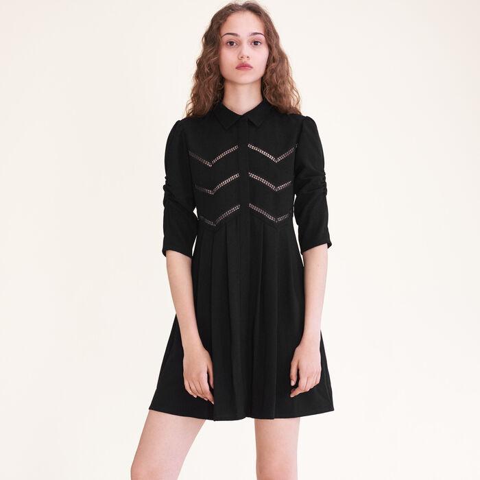 Vestido camisero con galones : Vestidos color Negro