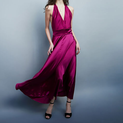Long silk dress : Vestidos color Fucsia