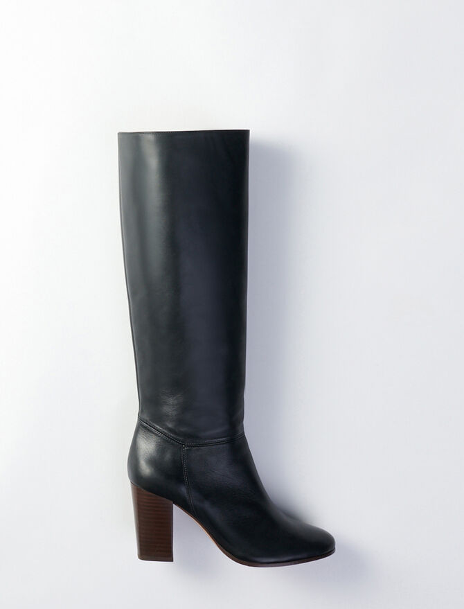 Heeled smooth leather boots - Botas y Botines - MAJE