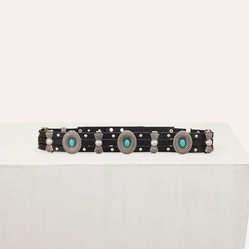 Cinturon de cuero talle alto con tachas : Cinturones color Negro