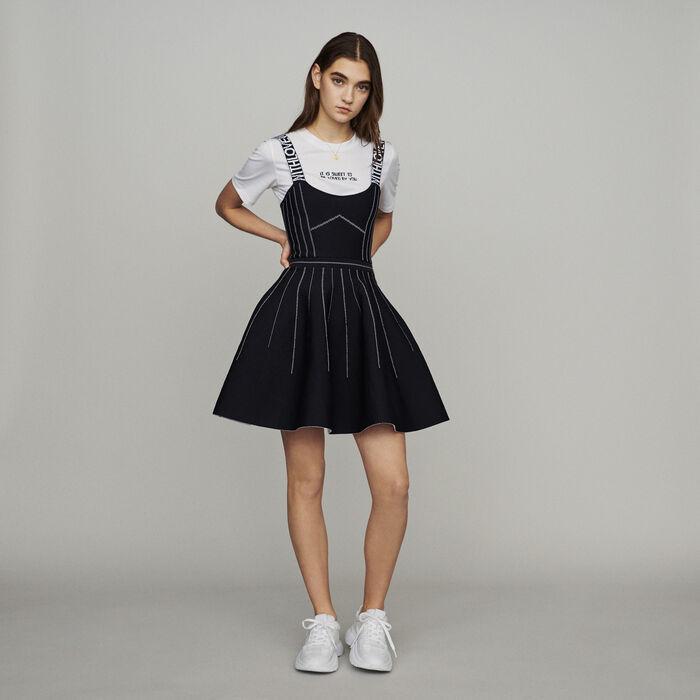 Vestido corto con tirantes : Vestidos color Negro