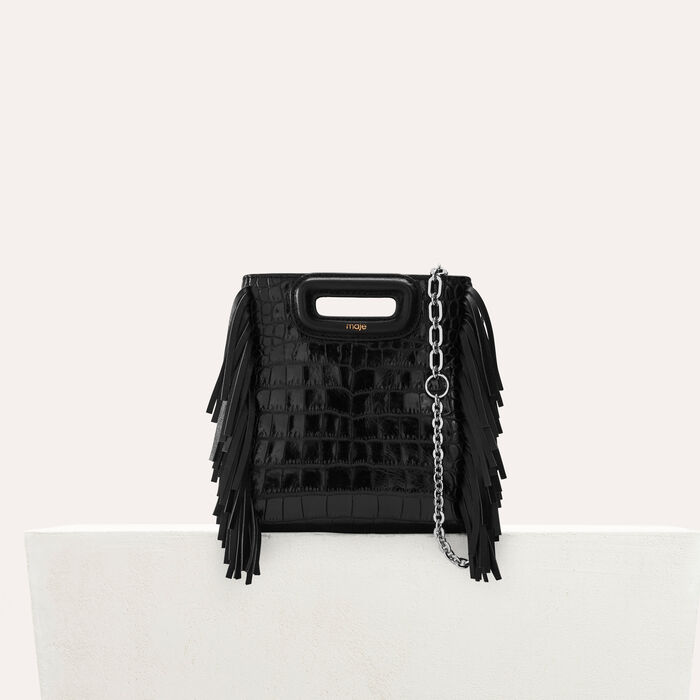 Mini-bolso M en croco con cadena : M Mini color Negro
