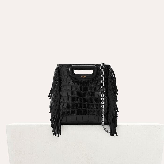 Mini-bolso M en croco con cadena : Office girl color Negro