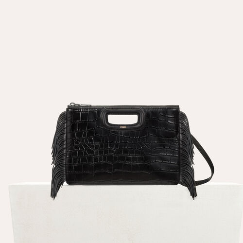 Cartera M Duo en croco : Piel color Negro