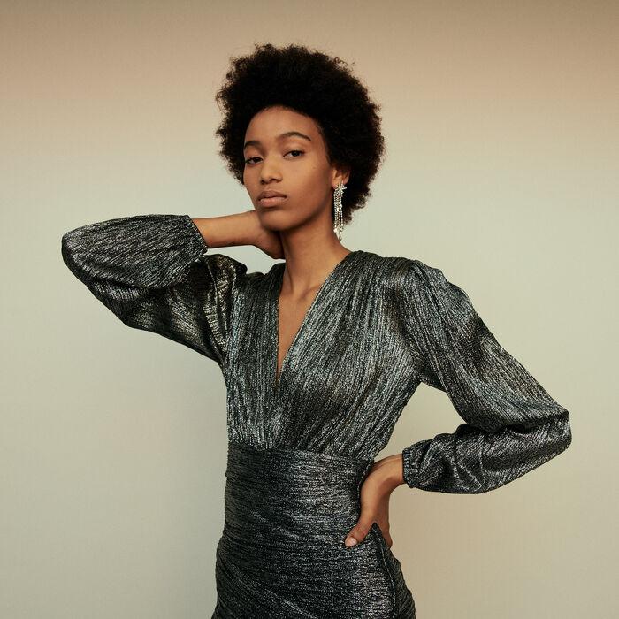 Vestido drapeado en lurex : Vestidos color Plateado