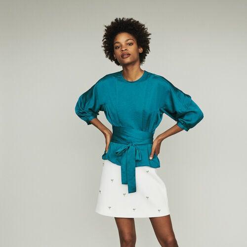Top, posibilidad de anudar a la cintura : Tops color Azul