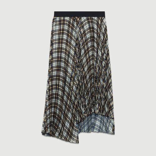 Falda plisada de cuadros asimétrica : Faldas y shorts color CARREAUX
