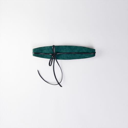 Leder Stiefeletten mit Absatz aus Leder : Cinturones color Negro