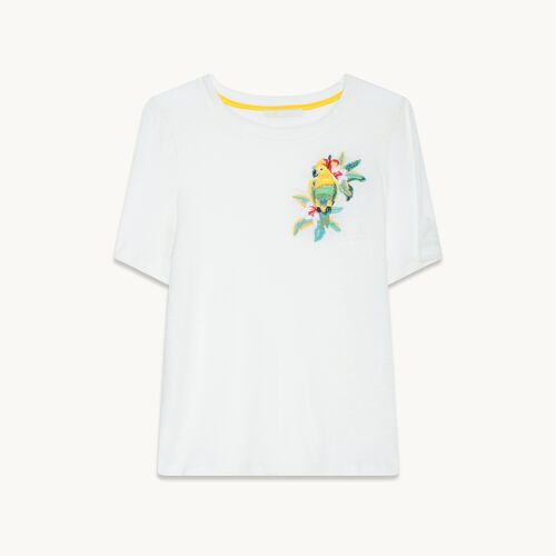 Camiseta de lino con bordado - null - MAJE