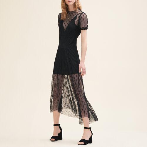 Vestido largo con bordados y encaje : Vestidos color Negro