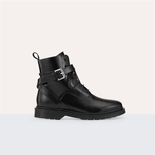 Bota alta de piel : Zapatos color Negro