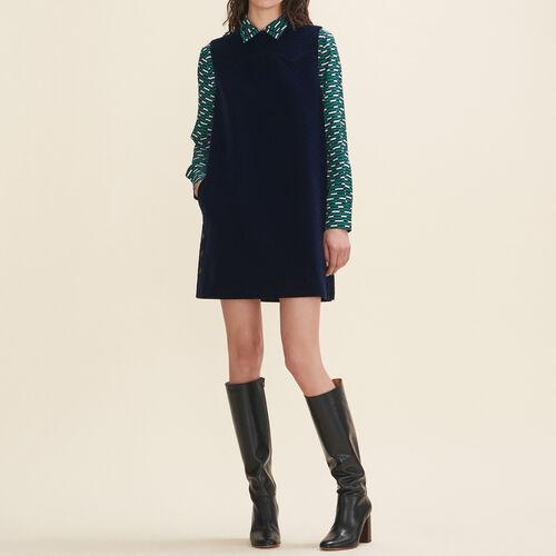 Vestido trapecio de terciopelo : Vestidos color Azul Marino