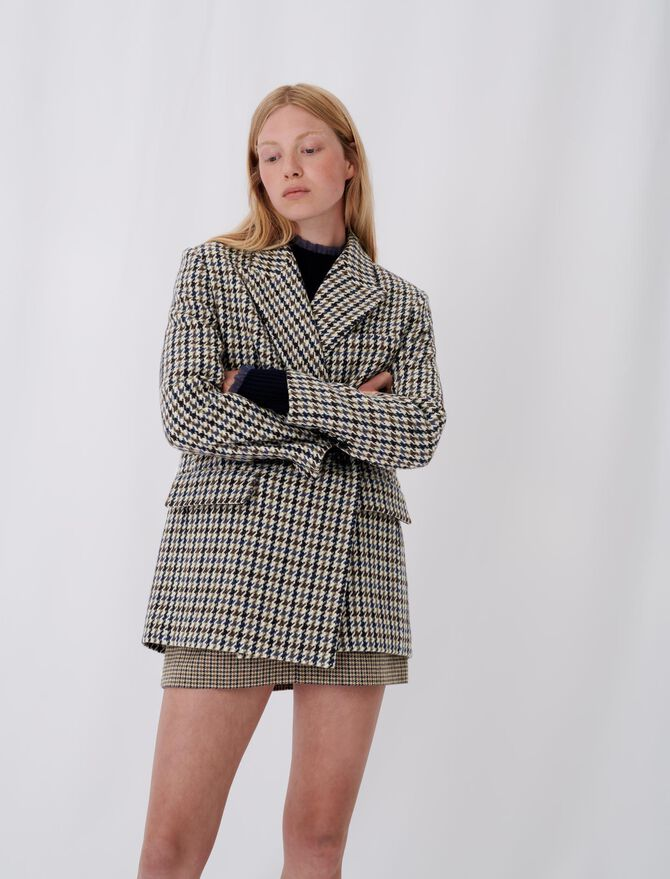 Abrigo tipo chaqueta de cuadros -  - MAJE