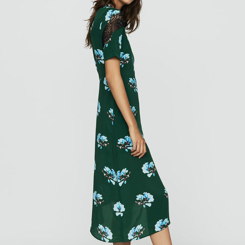 Vestido asimétrico estampado con encaje : Prêt-à-porter color IMPRIME