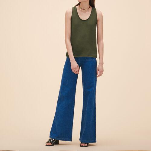 Camiseta sin mangas de crepé : Tops color Caqui