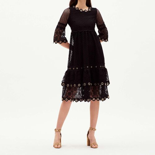 Vestido largo de guipur : Majexclusive color Negro