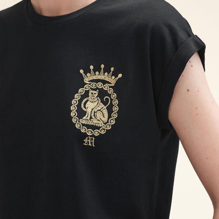 Camiseta de algodón : T-shirts color Negro