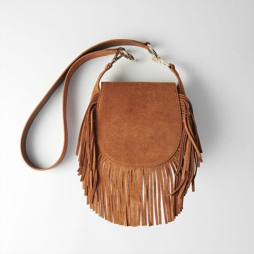 Suede fringe Gyps handbag : Colección invierno color Coñac