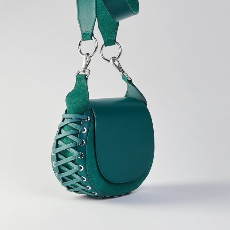 Laceup leather and suede Gyps handbag : Colección invierno color VERT