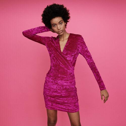 Vestido drapeado de pana rasa : Vestidos color Rosa