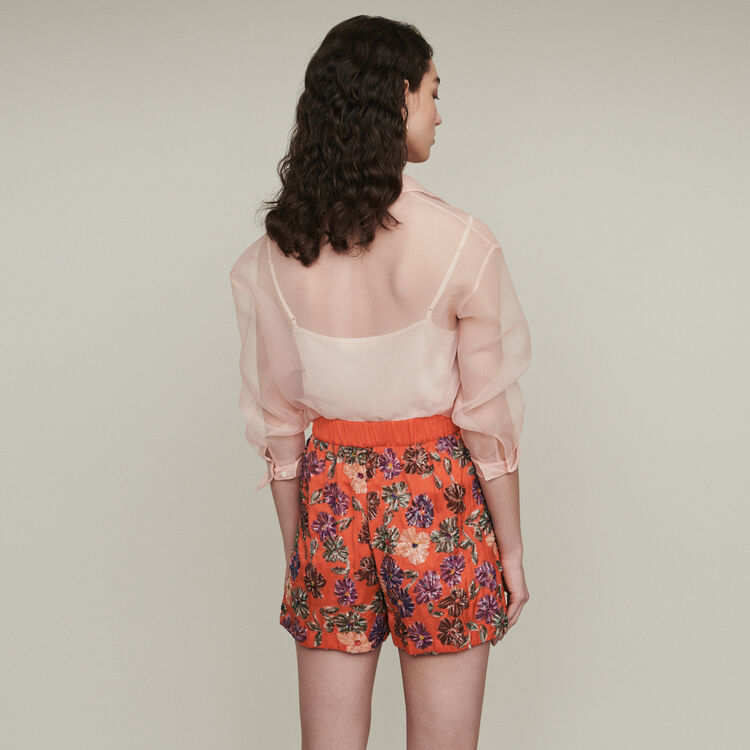 Short bordado de lentejuelas : Faldas y shorts color Coral