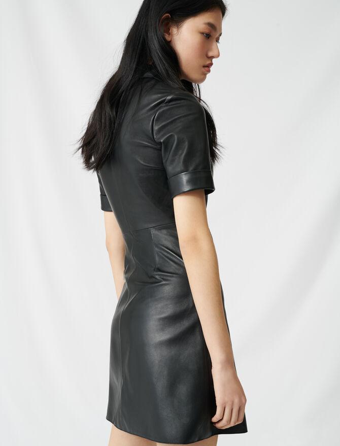 Vestido camisero abotonado de piel - Vestidos - MAJE