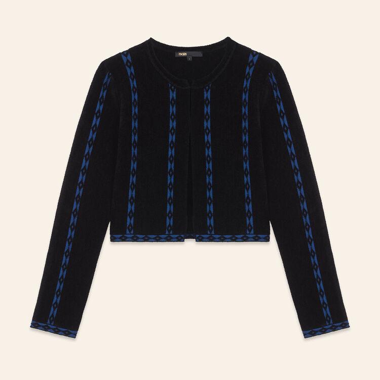 Cárdigan corto con galones : Jerseys y cárdigans color Negro