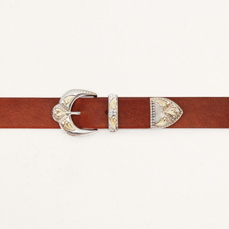 Cinturón doble hebilla de cuero : Cinturones color Camel