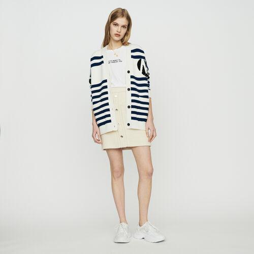 Cárdigan de rayas bordado de lentejuelas : Jerseys y cárdigans color ECRU