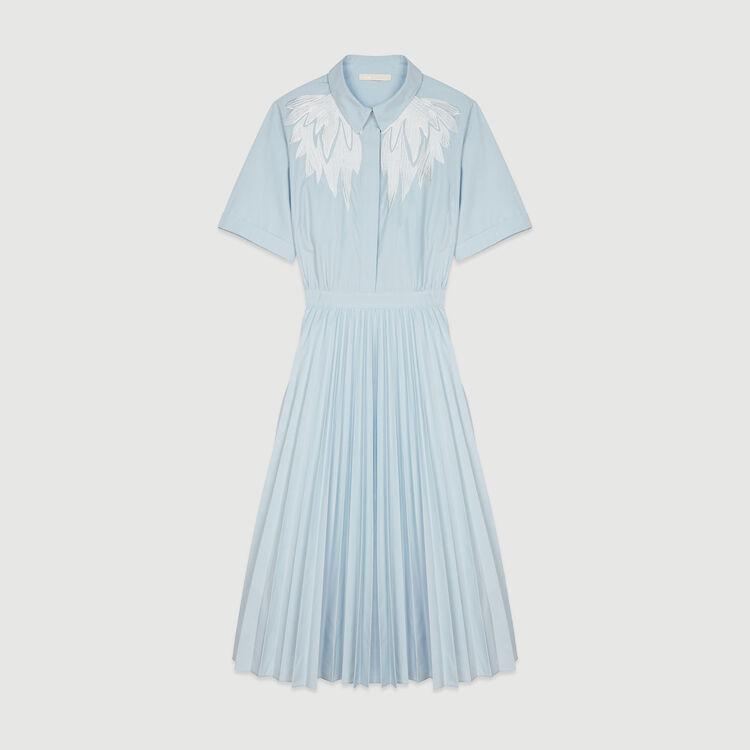 Vestido camisero plisado : Vestidos color Azul