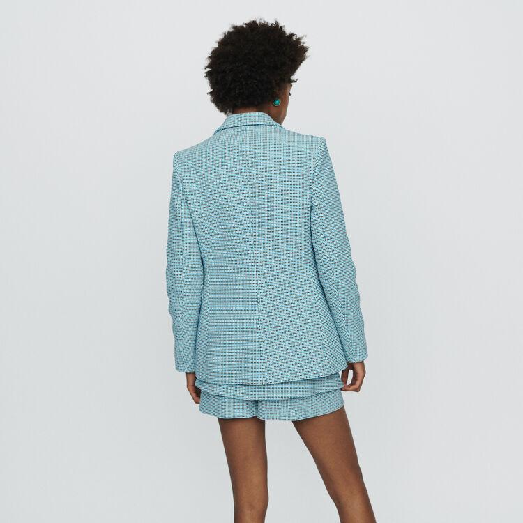 Chaqueta sastre en tejido tipo tweed : Chaquetas color Azul