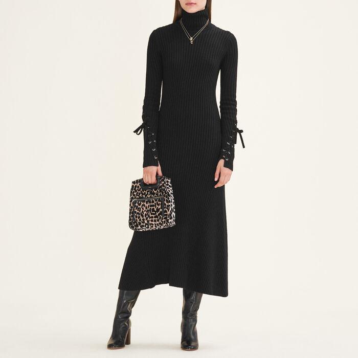 Vestido largo de punto tubular : Vestidos color Negro
