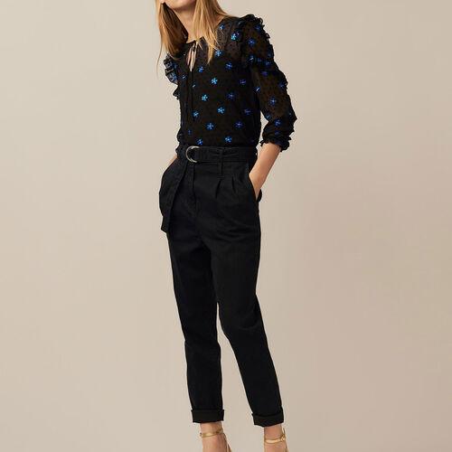 Pantalón a pinza denim : Pantalones color Negro