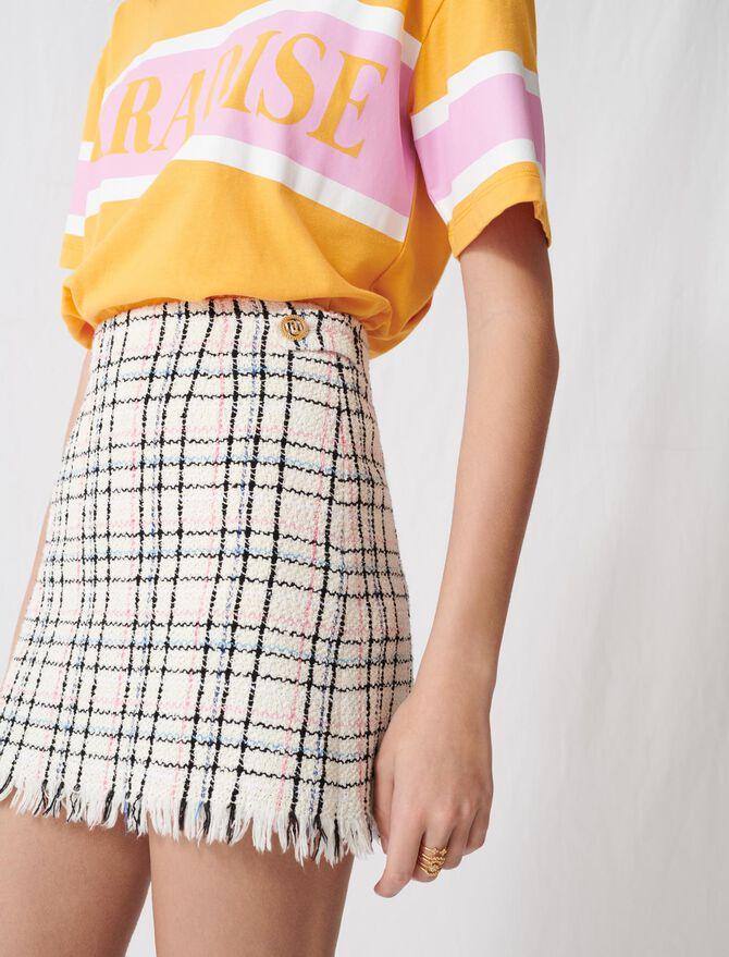Minifalda estilo tweed con flecos - Faldas y shorts - MAJE