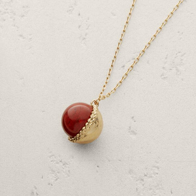 Collar con bola en piedra natural : Bisuteria color Rojo