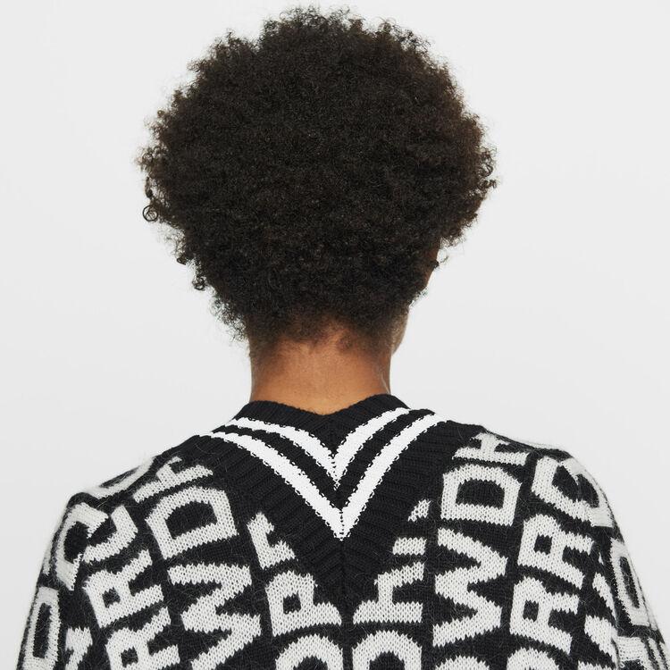 Cárdigan oversize de punto fantasía : Malla color Negro