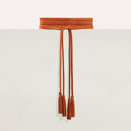 Cinturón ancho de ante para anudar : Accesorios color Camel