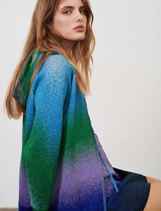 Cárdigan con capucha de punto lúrex : Jerséis y cárdigans color Bleu/Vert/Violet
