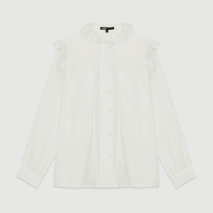 Blusa de gasa de algodón : Camisas color Blanco
