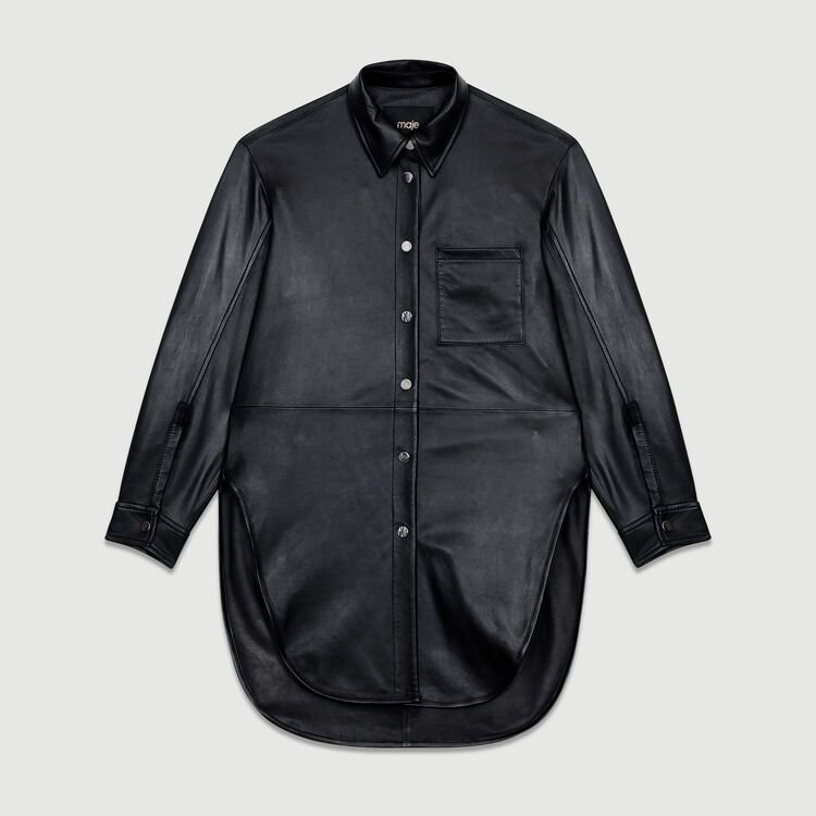 Camisa larga de cuero : Prêt-à-porter color NEGRO