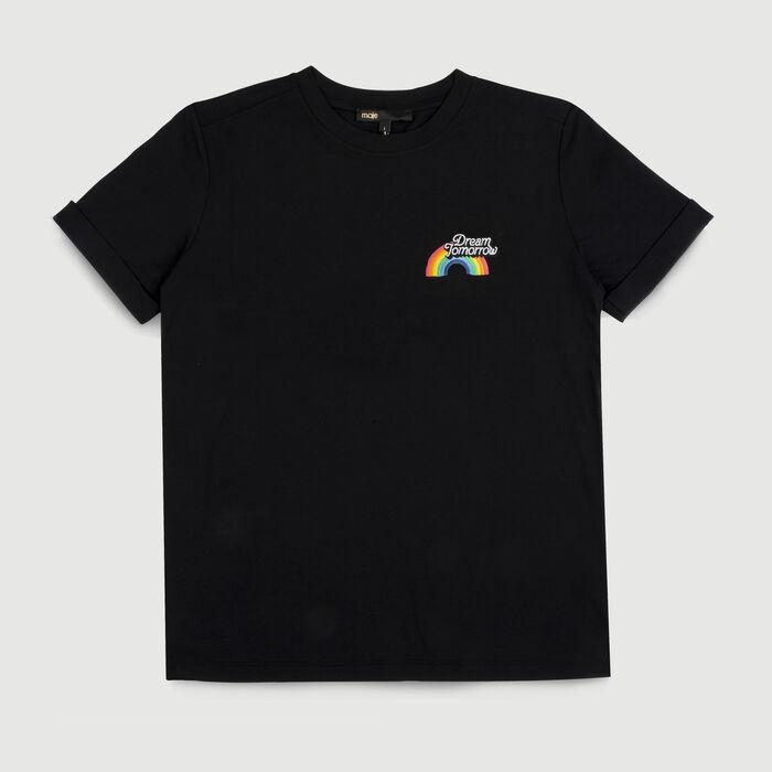 Camiseta de algodón con texto : T-Shirts color Negro