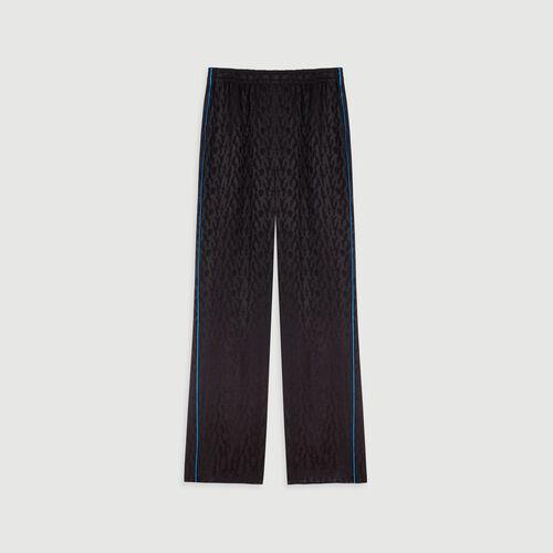 Pantalón fluido en Jacquard de raso : Colección invierno color Negro