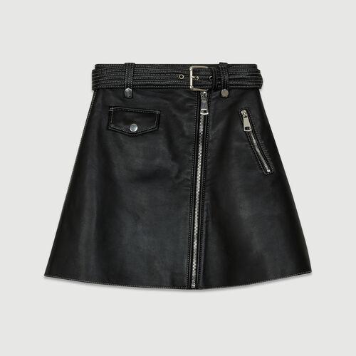 Falda trapecio de piel : Esenciales color Negro
