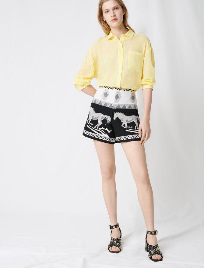 Short de jacquard con caballos bordados - Faldas y shorts - MAJE