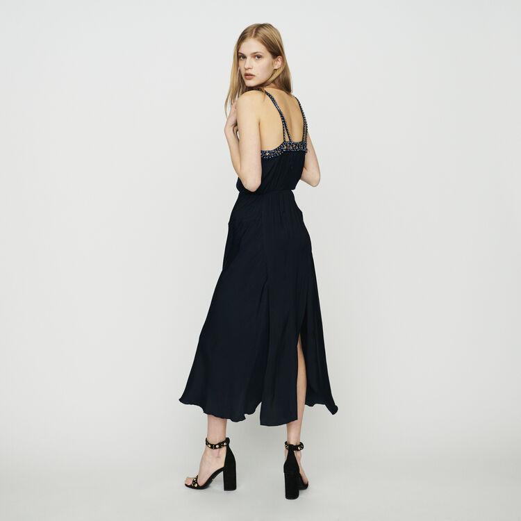 Vestido midi con strass : Vestidos color Azul Marino